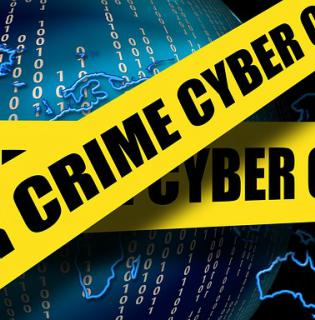 Cyber crime on yellow tape, blue background