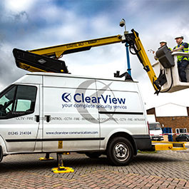 ClearView van with crane atop for security maintenance