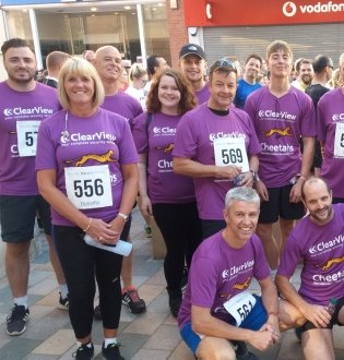 ClearView employees after a charity run