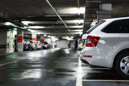 Underground car park with car in foreground