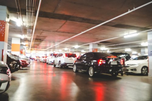 Underground car park with cars leaving