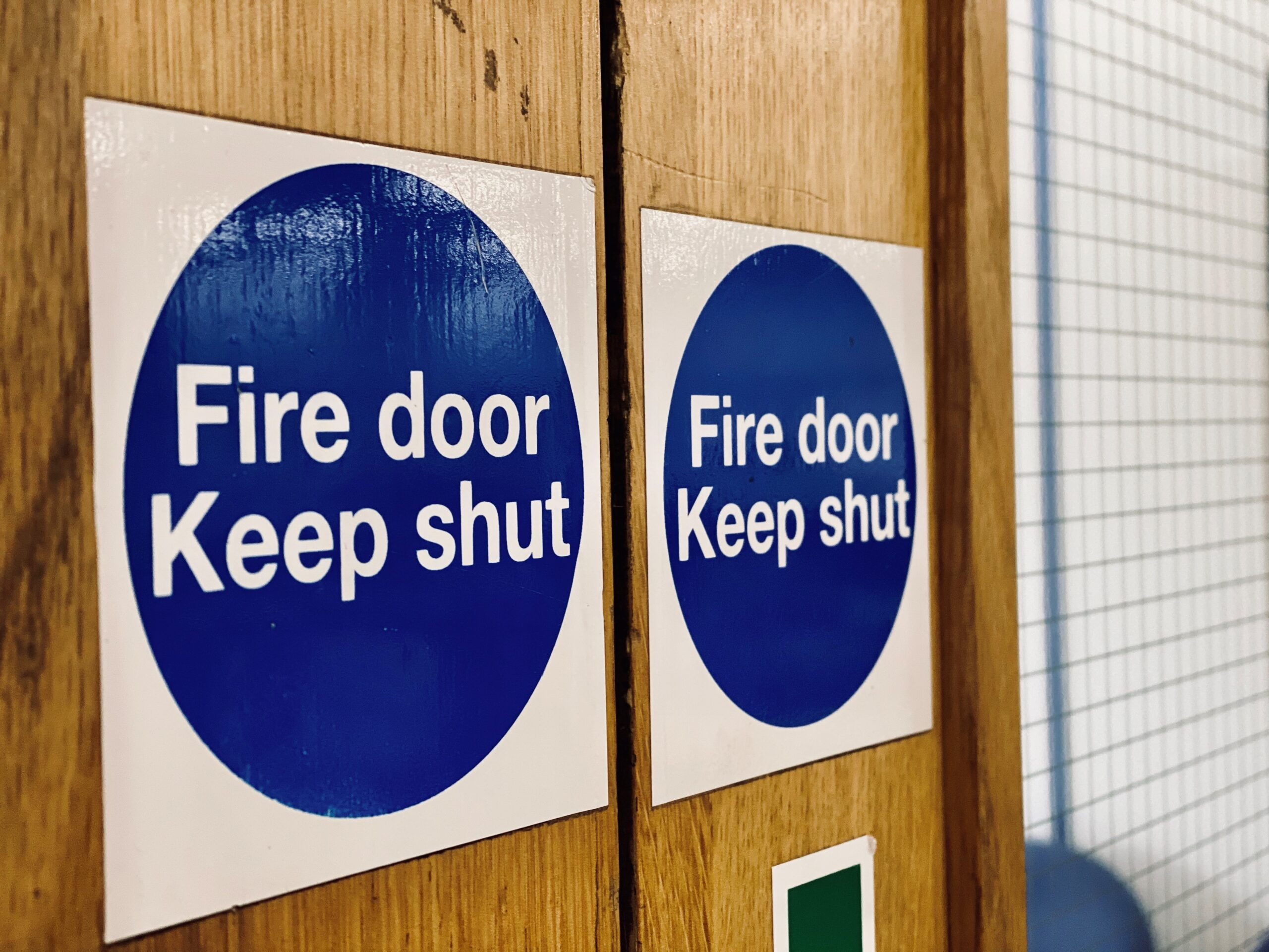 Fire door sign on door