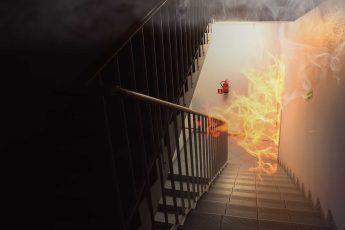 fire breaking through into stairwell